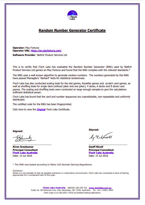 Скриншот сертификата проверки iTech Lab